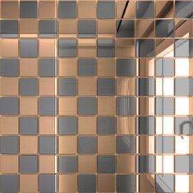 Б50Г50 Зеркальная мозаика бронза (50%) графит (50%) с чипом  25х25