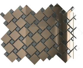 Б70Г30 Зеркальная мозаика бронза 25х25 (70%)  + графит 12х12 (30%) с чипом