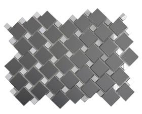 ГМ70С30 Зеркальная мозаика графит матовый 25х25 (70%) + серебро 12х12 (30%) с чипом