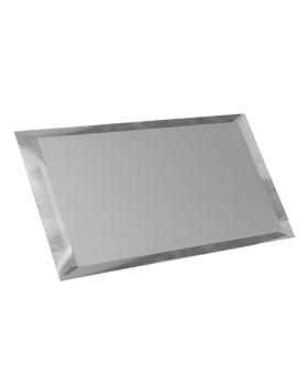 СМП-12х24-Зеркальная плитка серебро матовый прямоугольник 120х240мм фацет 10мм