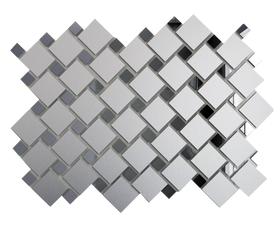 СМ70Г30 Зеркальная мозаика серебро матовый 25х25 (70%) + графит 12х12 (30%) с чипом