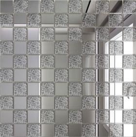 С50Х50 Зеркальная мозаика серебро (50%)+ хрусталь(50%) с чипом 25х25