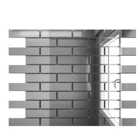 С8025 Зеркальная мозаика серебро с чипом  80х25