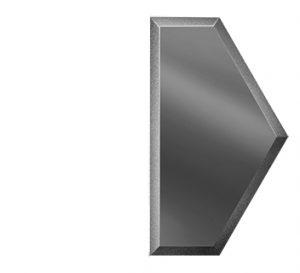 ПГМУ100х173-Зеркальная плитка Полусота графит матовый угол 100х173мм фацет 10мм