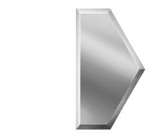 ПСМУ100х173-Зеркальная плитка Полусота серебро матовое угол 100х173мм фацет 10мм
