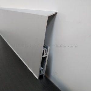 АК100-3000  Плинтус с кабель каналом алюминиевый анодированный Г-образный 100х10х3000мм. Матовое серебро. Цена указана за 1 шт.