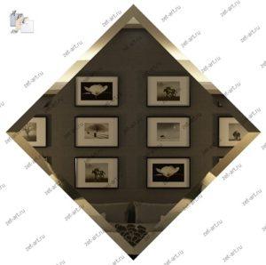 БК-20-Зеркальная плитка бронза квадрат 200х200мм фацет 10мм