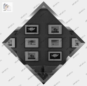 ГК-20-Зеркальная плитка графит квадрат 200х200мм фацет 10мм