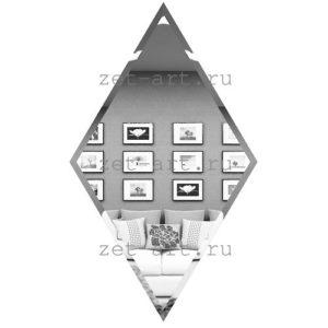 РС300х510-Зеркальная плитка Ромб серебро 300х510мм фацет 10мм