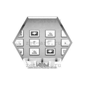 СС200х173-Зеркальная плитка Сота серебро 200х173мм фацет 10мм