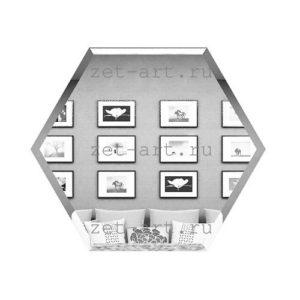 СС250х216-Зеркальная плитка Сота серебро 250х216мм фацет 10мм