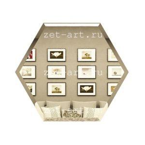 СБ250х216-Зеркальная плитка Сота бронза 250х216мм фацет 10мм