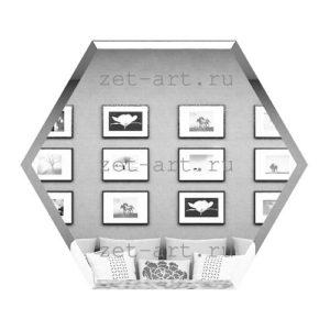СС300х259-Зеркальная плитка Сота серебро 300х259мм фацет 10мм