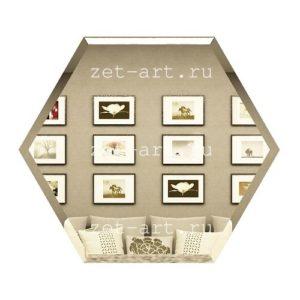 СБ300х259-Зеркальная плитка Сота бронза 300х259мм фацет 10мм