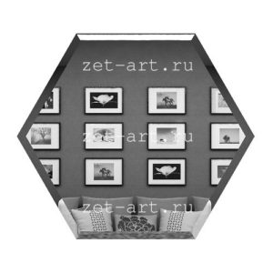 СГ300х259-Зеркальная плитка Сота графит 300х259мм фацет 10мм