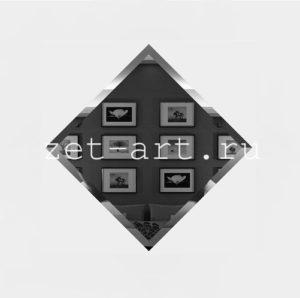 ГК-10-Зеркальная плитка графит квадрат 100х100мм фацет 10мм