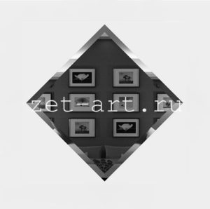 ГК-15-Зеркальная плитка графит квадрат 150х150мм фацет 10мм