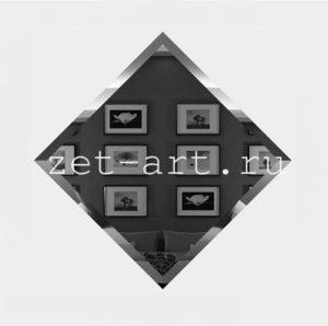 ГК-18-Зеркальная плитка графит квадрат 180х180мм фацет 10мм