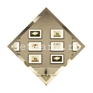 БК-25-Зеркальная плитка бронза квадрат 250х250мм фацет 10мм