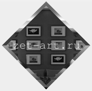 ГК595-Зеркальная потолочная плитка графит квадрат 595х595мм фацет 10мм