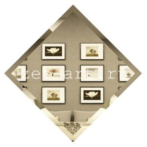 БК595-Зеркальная потолочная плитка бронза квадрат 595х595мм фацет 10мм