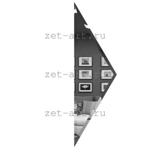 РГП150х510-Зеркальная плитка Полуромб графит прямой 150х510мм фацет 10мм