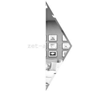 РСП100х340-Зеркальная плитка Полуромб серебро прямой 100х340мм фацет 10мм