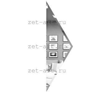 РСП150х510-Зеркальная плитка Полуромб серебро прямой 150х510мм фацет 10мм