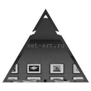 РГУ200х170-Зеркальная плитка Полуромб графит угол 200х170мм фацет 10мм