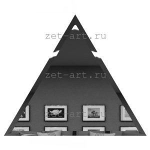 РГУ300х255-Зеркальная плитка Полуромб графит угол 300х255мм фацет 10мм