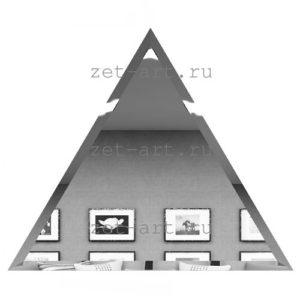 РСУ300х255-Зеркальная плитка Полуромб серебро угол 300х255мм фацет 10мм