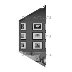 ПГП200х86-Зеркальная плитка Полусота графит прямая 200х86мм фацет 10мм