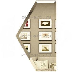 ПБУ100х173-Зеркальная плитка Полусота бронза угол 100х173мм фацет 10мм