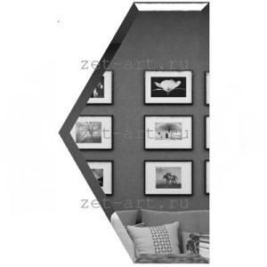 ПГУ100х173-Зеркальна плитка Полусота графит угол 100х173мм фацет 10мм