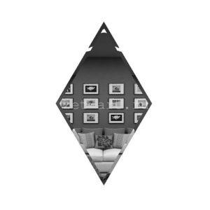 РГ200х340-Зеркальная плитка Ромб графит 200х340мм фацет 10мм