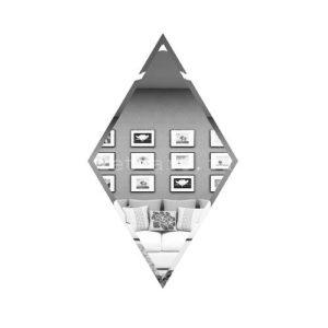 РС200х340-Зеркальная плитка Ромб серебро 200х340мм фацет 10мм