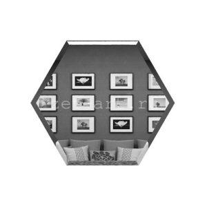 СГ200х173-Зеркальная плитка Сота графит 200х173мм фацет 10мм