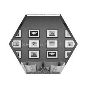 СГ250х216-Зеркальная плитка Сота графит 250х216мм фацет 10мм