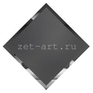 ГМК595-Зеркальная потолочная плитка графит матовый квадрат 595х595мм фацет 10мм