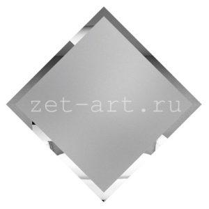 СМК595-Зеркальная потолочная плитка серебро матовый квадрат 595х595мм фацет 10мм