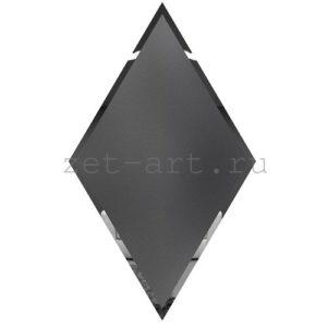 РГМ300х510-Зеркальная плитка Ромб графит матовый 300х510мм фацет 10мм