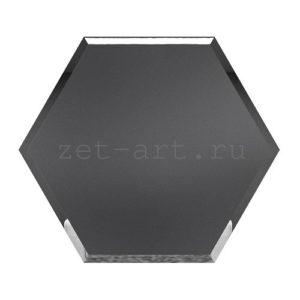СГМ300х259-Зеркальная плитка Сота графит матовый 300х259мм фацет 10мм