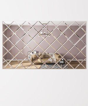 ЗПС10 Зеркальное панно Серебро 1785х1020мм квадрат 180мм, фацет 10мм