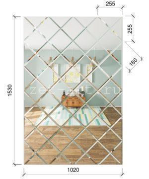 ЗПС11 Зеркальное панно Серебро 1020х1530мм квадрат 180мм, фацет 10мм
