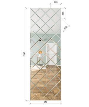 ЗПС14 Зеркальное панно Серебро 849х2547мм квадрат 200мм, фацет 10мм