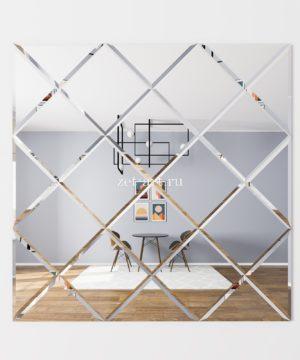 ЗПС16 Зеркальное панно Серебро 1062х1062мм квадрат 250мм, фацет 10мм