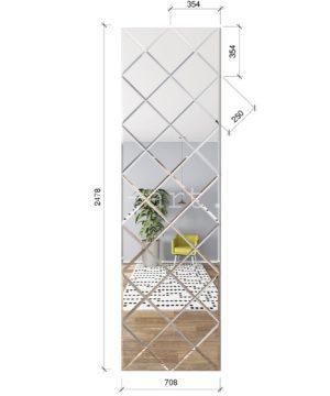ЗПС17 Зеркальное панно Серебро 708х2478мм квадрат 250мм, фацет 10мм