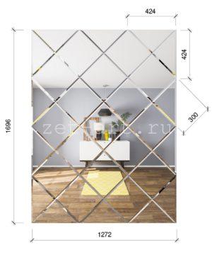 ЗПС18 Зеркальное панно Серебро 1272х1696мм квадрат 300мм, фацет 10мм