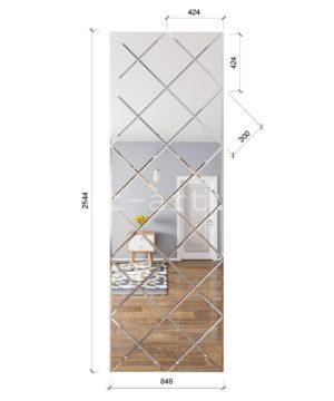 ЗПС19 Зеркальное панно Серебро 848х2544мм квадрат 300мм, фацет 10мм