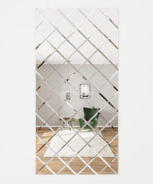 ЗПС1 Зеркальное панно Серебро 1020х2040мм квадрат 180мм, фацет 10мм